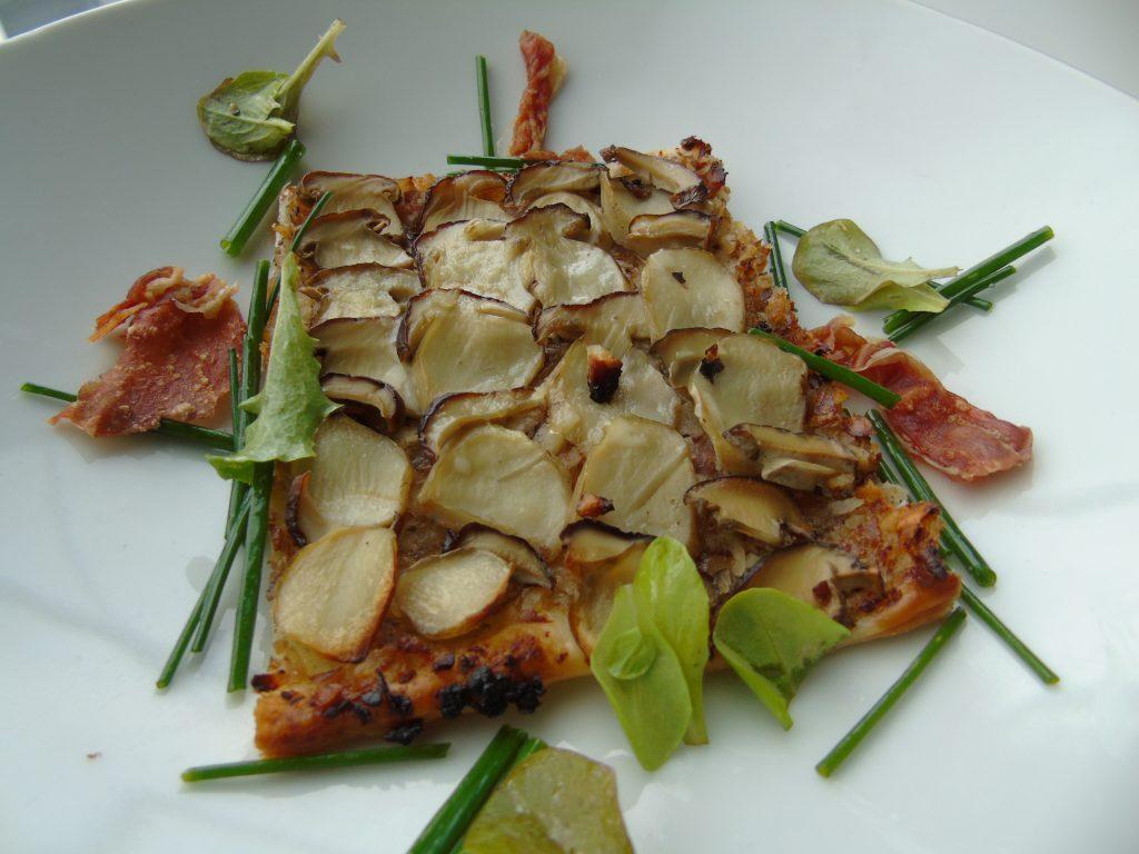 Tarte fine aux cèpes, salade d'herbes, Damien Clot, cuisinier, traiteur, cours de cuisine
